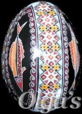 Ukrainian Easter egg. Chicken pysanka. Fish