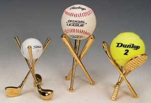 Brass Display Stands for Eggs. Sport ball display stands.